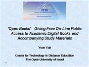 Open Books @ Open University Israel