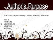 Authors Purpose Powerpoint #2 (MS Standard 2d4)