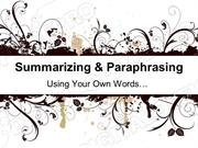 Summarizing & Paraphrasing Powerpoint (MS Standard 2c)