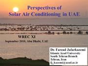 Perspectives of Solar Air Conditioning in UAE