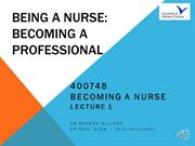 Week1 BaN Lecture 1 Being a nurse - Becoming a professional - Podcast