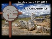 Announcements 06-17-12