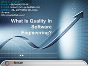 What Is Quality In Software Engineering