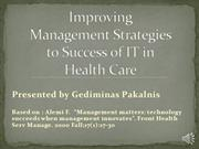 Improving Management Strategies to Success of IT in Health Care
