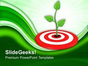 TARGETS GROWING GREEN PLANT ON TARGET PPT TEMPLATE