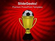 TARGETS GOLDEN WINNER TROPHY WITH SOCCER BALL PPT TEMPLATE