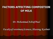 .Factors Affecting Composition of Milk