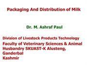 Packaging & distribution of milk