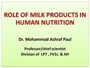 Role of milk in human nutrition