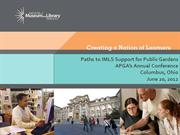 Paths to IMLS support - lunch- Bodner APGA 2012 120618