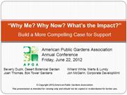 Why me, why now - APGA Case Session - Making your case for support - D