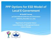 PPP Options for ESD Model of Local E-Government