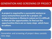 GENERATION AND SCREENING OF PROJECT