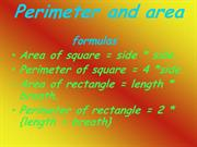 perimeter and area