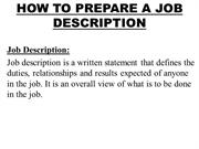 HOW TO PREPARE A JOB DESCRIPTION