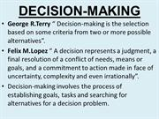 Chapter 7 - Decision Making