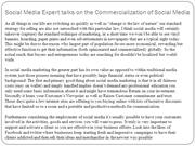 Social Media Expert talks on the Commercialization of Social Media