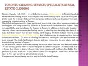 Toronto cleaning services Specialists in Real Estate Cleaning