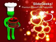 CHRISTIAN 3D MAN OFFERING VALENTINES CAKE WITH HEARTS PPT TEMPLATE