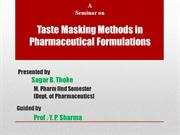 Taste Masking Methods in Pharmaceutical Formulations