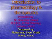 Introduction to        pharmacology & therapeutics