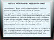 Corruption and Development in the Developing Countries