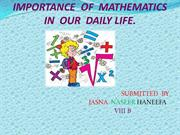 IMPORTANCE  OF  MATHEMATICS IN  OUR  DAILY LIFE