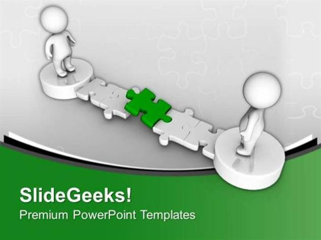 JIGSAW PUZZLES 3D MEN WITH GREEN PUZZLE PATHWAY PPT TEMPLATE