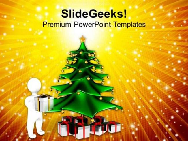 Church Christmas Tree Abstract Background Ppt Template 1 Powerpoint