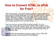 How to Convert HTML to ePub Free - Download HTML to ePub Converter