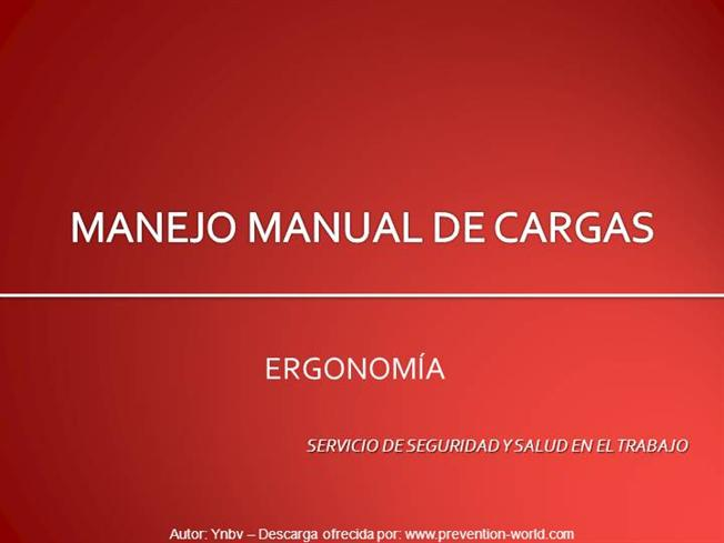 Manipulación manual de cargas power point