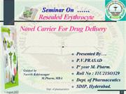 Resealed Erythrocyte  Novel Carrier For Drug Delivery