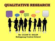 QUALITATIVE RESEARCH -