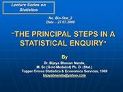 Principal Steps in a Statistical Enquiry