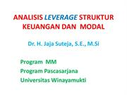 LEVERAGE FINANCIAL AND OPERATING LEVERAGE bY Dr. H. Jaja Suteja MScAJA