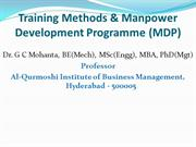 Training Methods and Manpower Development Programme