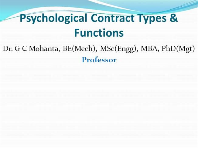 Psychological Contracts Types Functions Authorstream