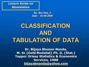 Classification & Tabulation of Data