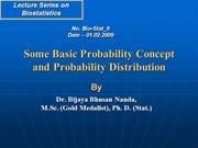Probability Concept and Probability Distribution