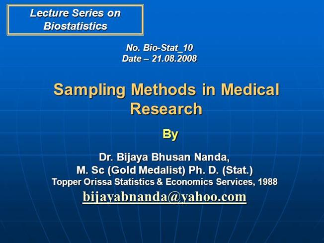 Sampling Methods in Medical Research |authorSTREAM