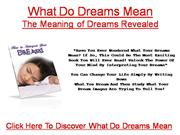 What Do Dreams Mean