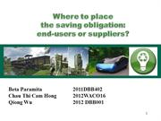Where to place the saving obligation