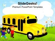 BABY TIME TO GO SCHOOL IN BUS PPT TEMPLATE