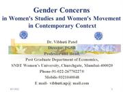 Gender Concerns in Women's Studies & Women's Movement in Contemporary