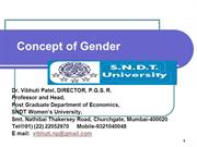 Concept of Gender by Prof. Vibhuti Patel