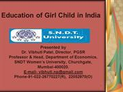 Education & Laws w.r.to Girls by Prof. Vibhuti Patel