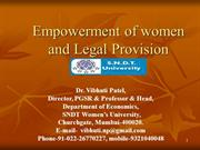 Empowerment of Women & Legal Provision by Prof. Vibhuti Patel