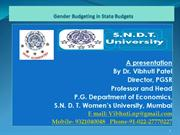 Gender Budgeting in State Budgets Best Practices by Prof. Vibhuti Pate