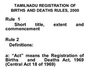 Birth and Death registration  rules
