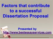 Factors that contribute to a successful Dissertation Proposal